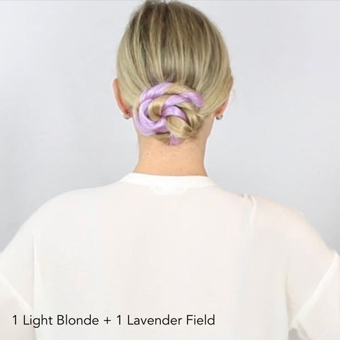 Lavender and Light Blonde Twisted Bun Hairstyle Easy Updo Extensions