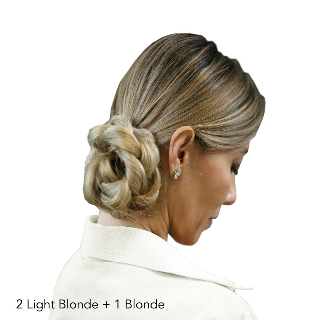 Blonde Braided Bun After Easy Updo Extensions