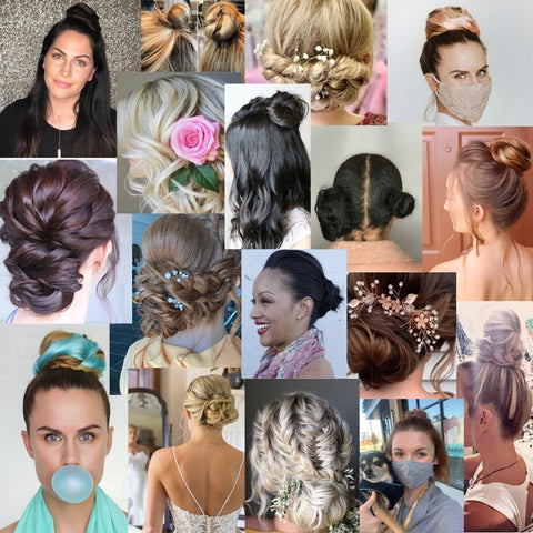 Collage of women wearing different updos wearing Easy Updo extensions