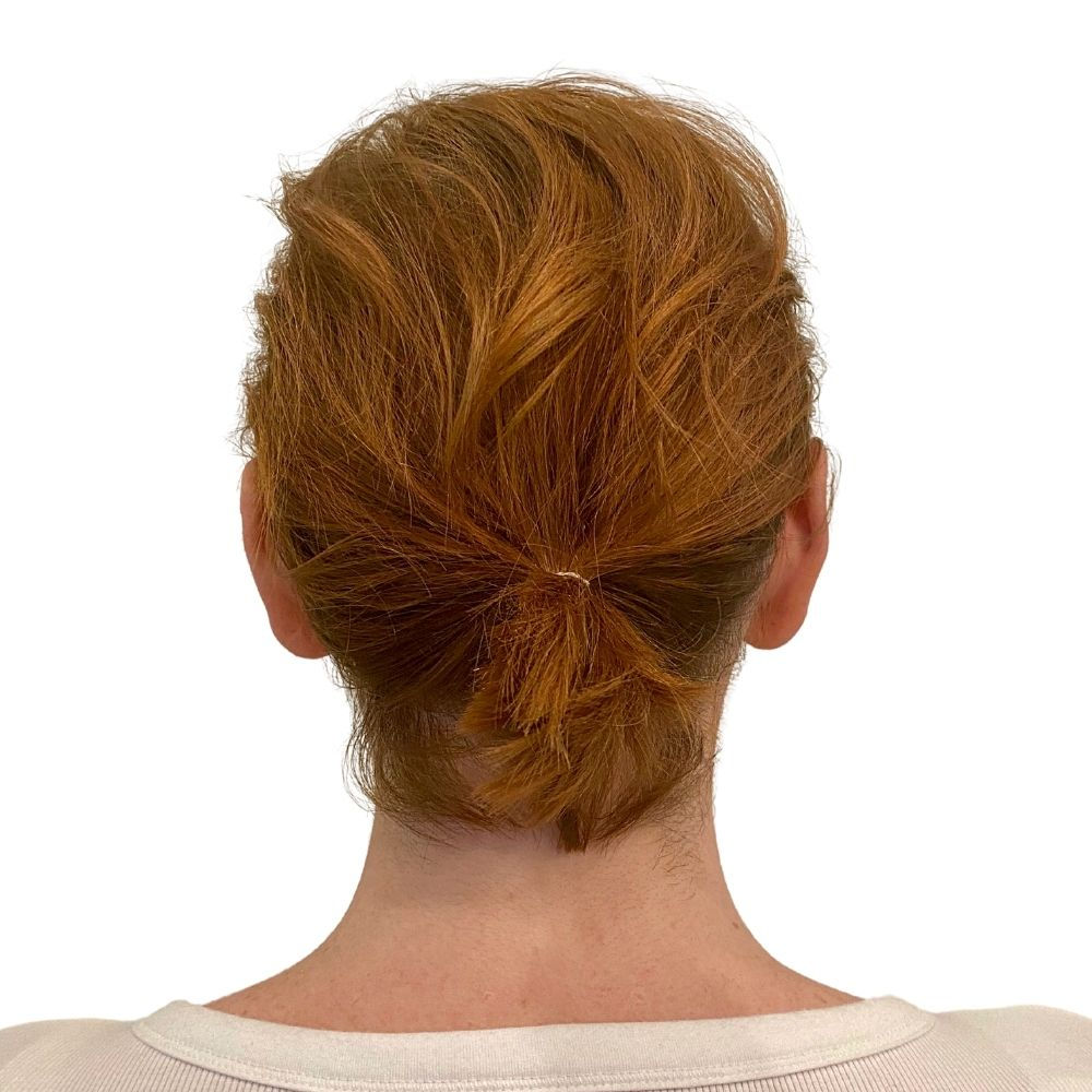 Golden Red Low Bun Before Easy Updo Hair Extensions