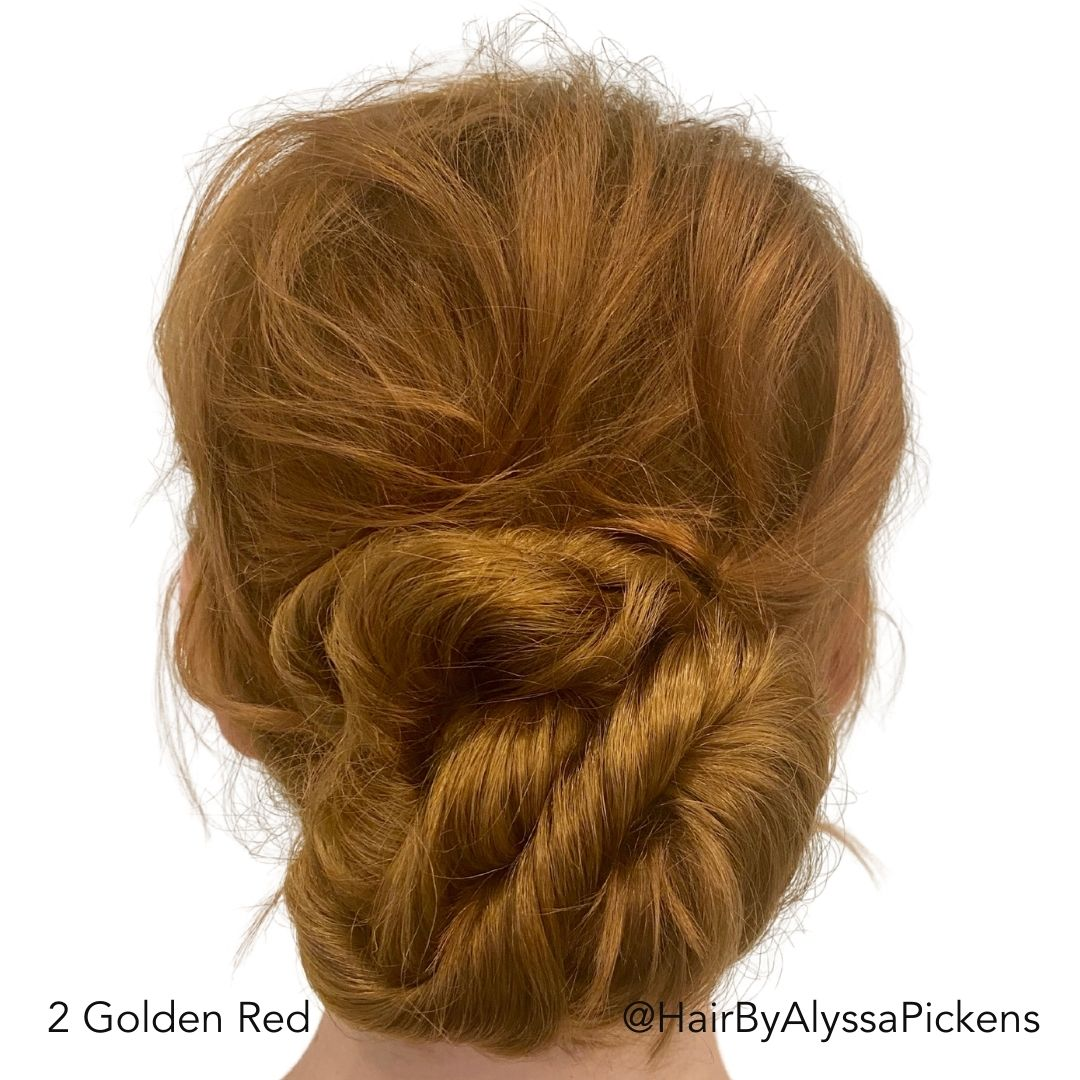 Golden Red Messy Bun After Easy Updo Extensions