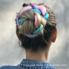 Vibrant Color Braided Bun Hairstyle Mermaid Unicorn Easy Updo Extensions