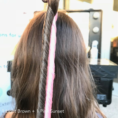 Light Brown & Pink Sunset Easy Updo Hair Extensions With Brown Hair