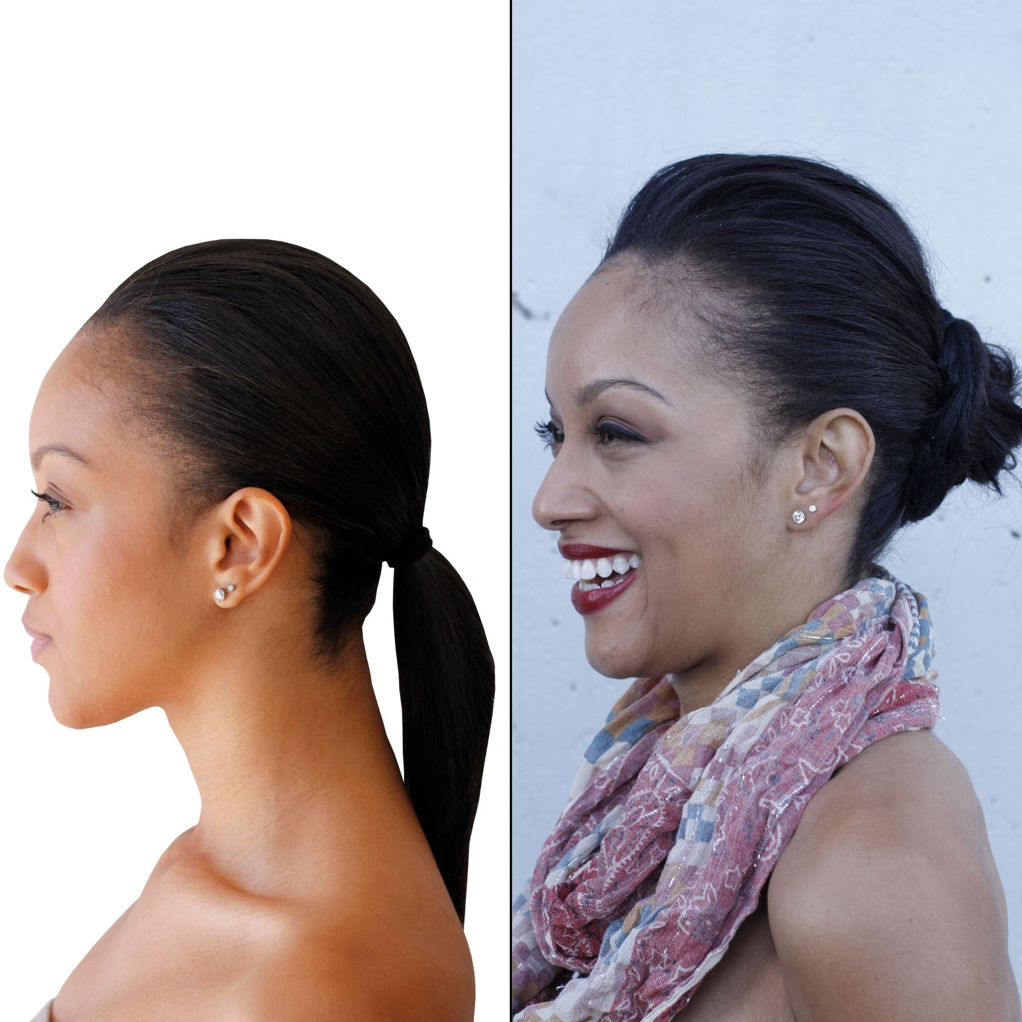 Easy Updo extensions black before after transformation photo of woman in scarf