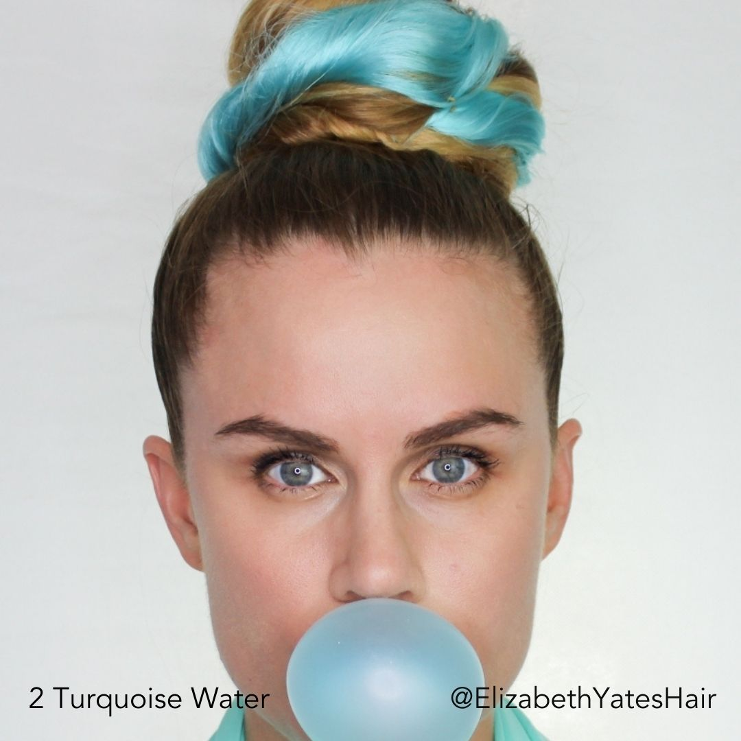 Turquoise Water Blue Hair Topknot Bun Hairstyle @ElizabethYatesHair Easy Updo Extensions Bubblegum