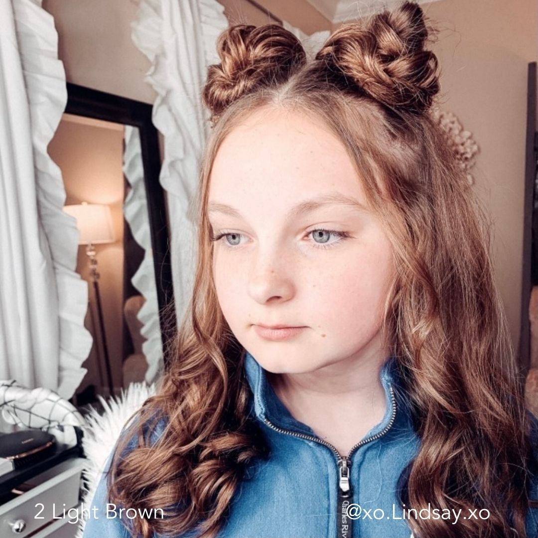 Light Brown Easy Updo Extensions Space Buns Double Buns xo.lindsay.xo on Teenager with Long Hair