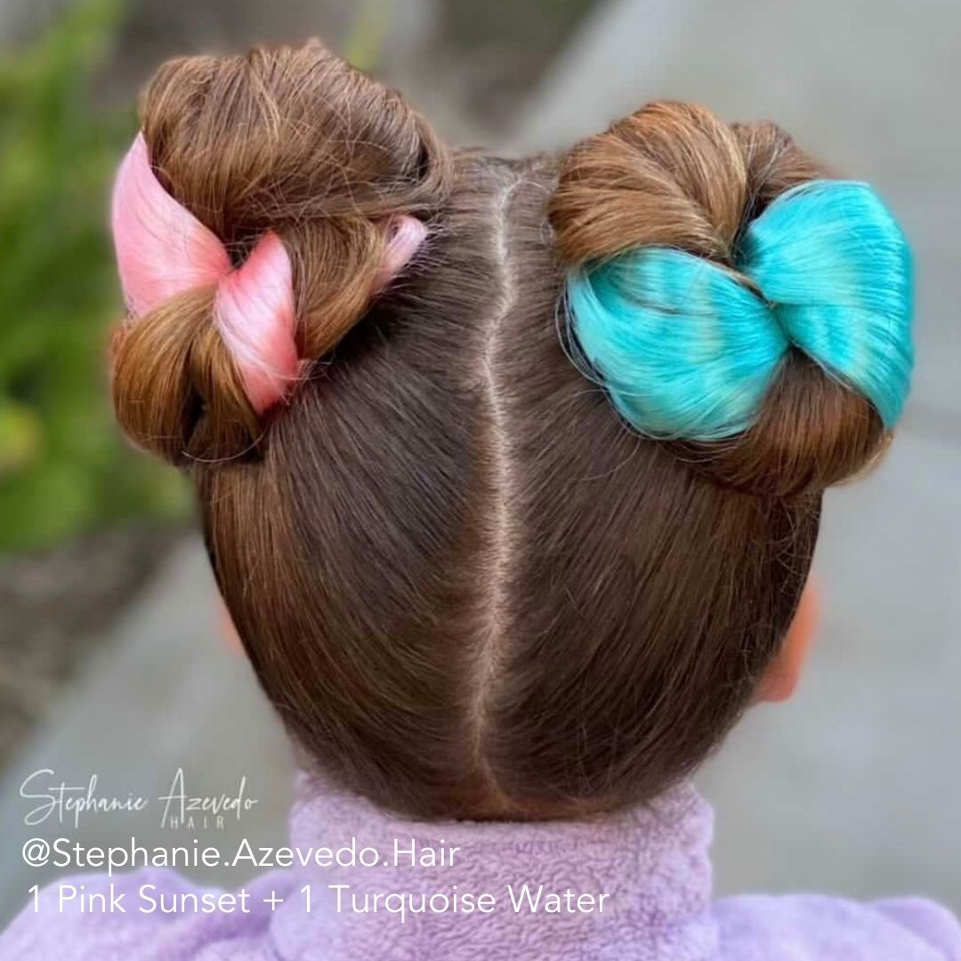 Pink and Turquoise Hair Extensions Space Buns Double Buns using Easy Updo Extensions on Girl
