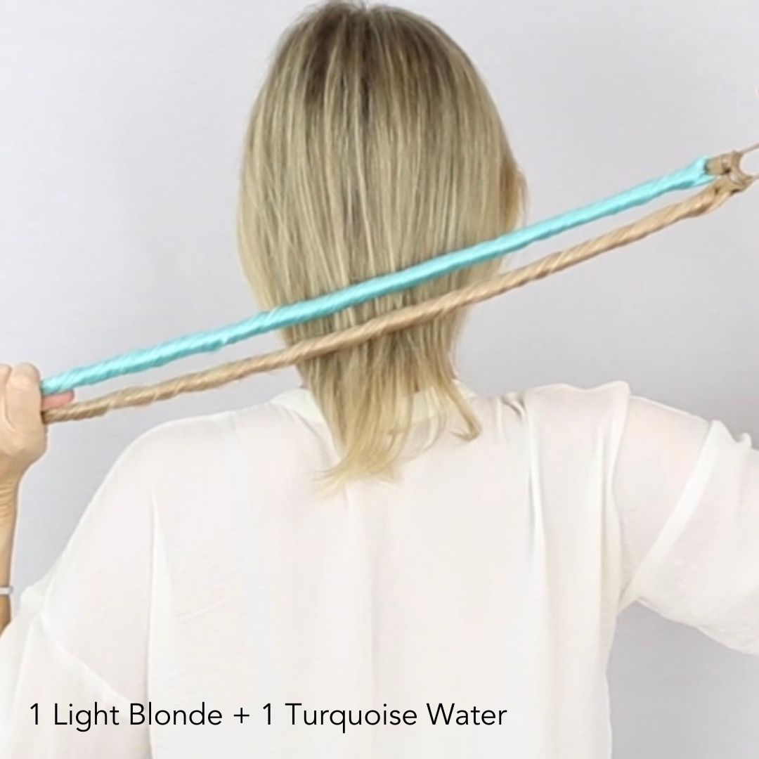 Turquoise Water Blue and Light Blonde Easy Updo Hair Extensions