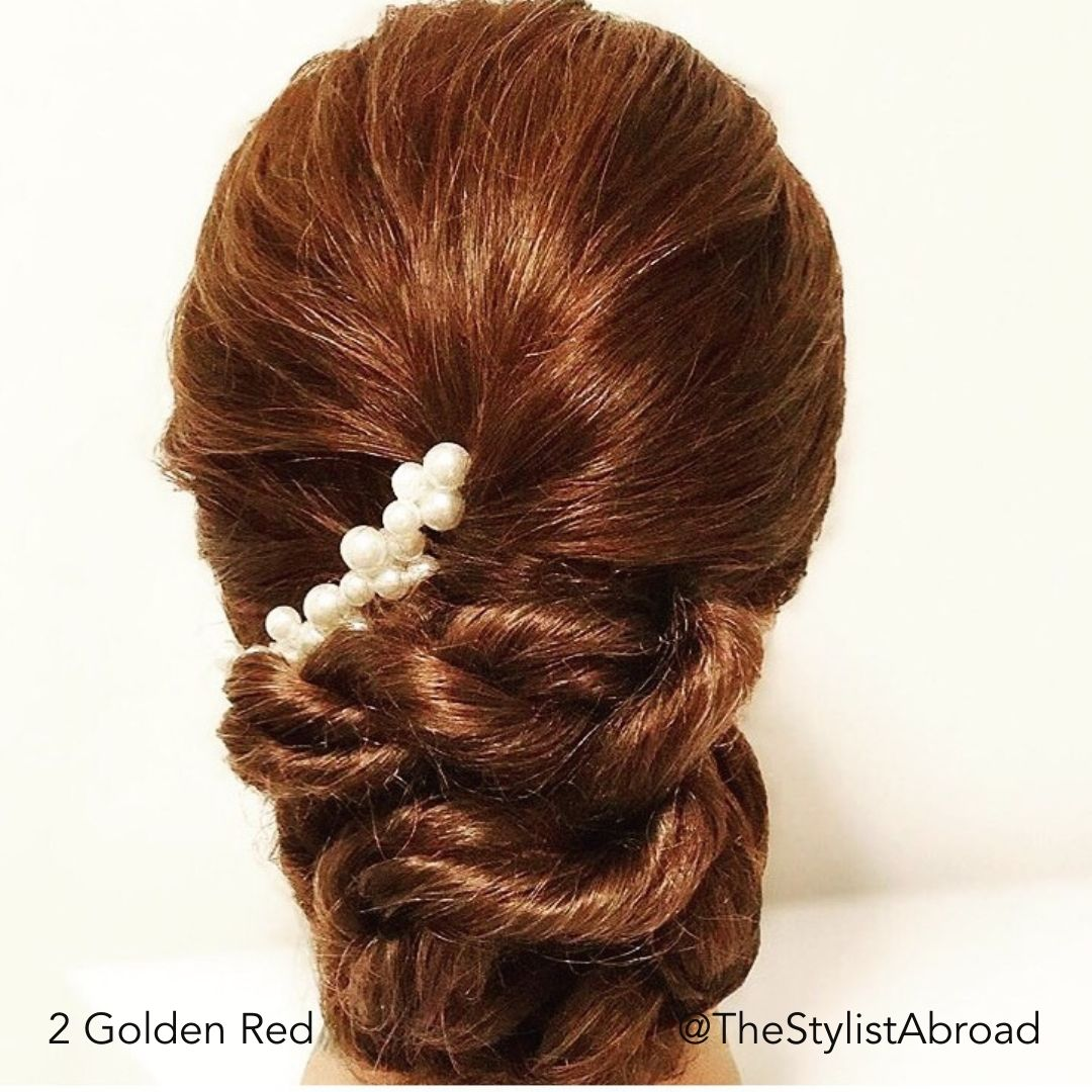 Golden Red Bridal Special Occasion Hairstyle @TheStylistAbroad Easy Updo Extensions