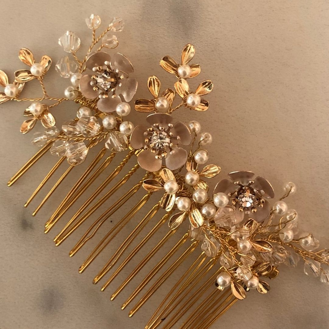 Rose Gold Flower Comb