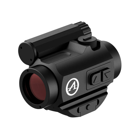 black red dot scope with red glass
