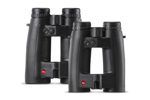 two pair of black leica binoculars with red logo