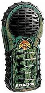Green predator call with buttons and speaker on the outside.