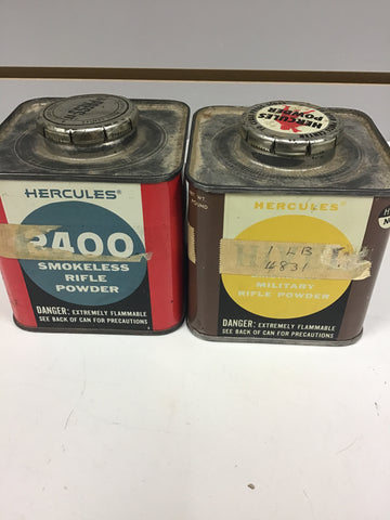0401002 EMPTY HERCULES POWDER TINS x 2
