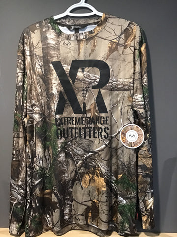 long sleeve camo shirt hanging on white hanger