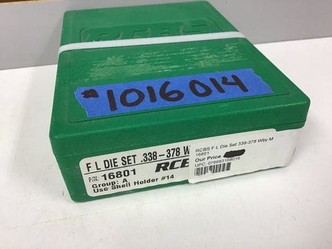 1016014 NEW 338-378 WBY MAG FL DIE SET