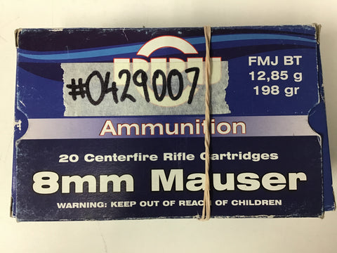 0429007 AMMO PPU 8mm MAUSER x 40 ROUNDS