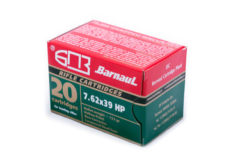 Barnaul 7.62x39 HP 123 Grain Non Corrosive Hollow Point 20 Pack
