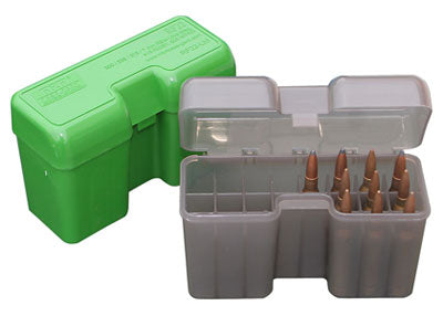 green and gray cases with ammunition inside