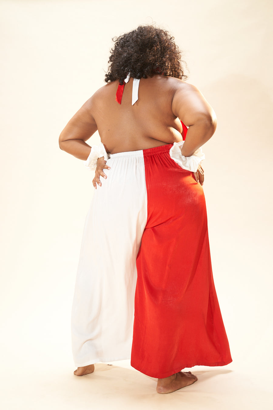 2 left -  Red/White Satin Lounge Jumpsuit
