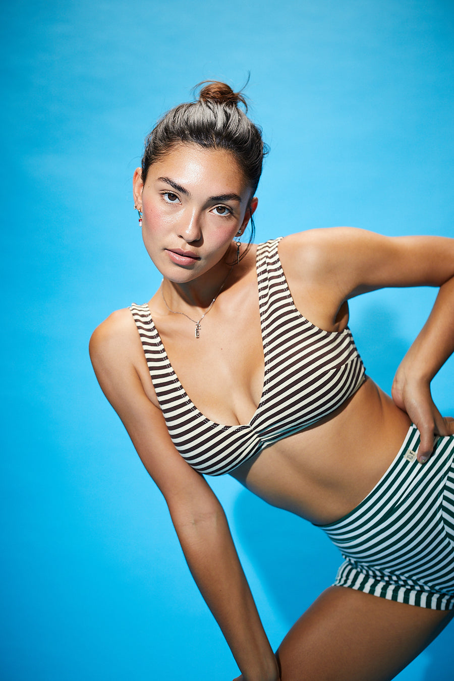 Cream/Brown Striped V Neck Bra