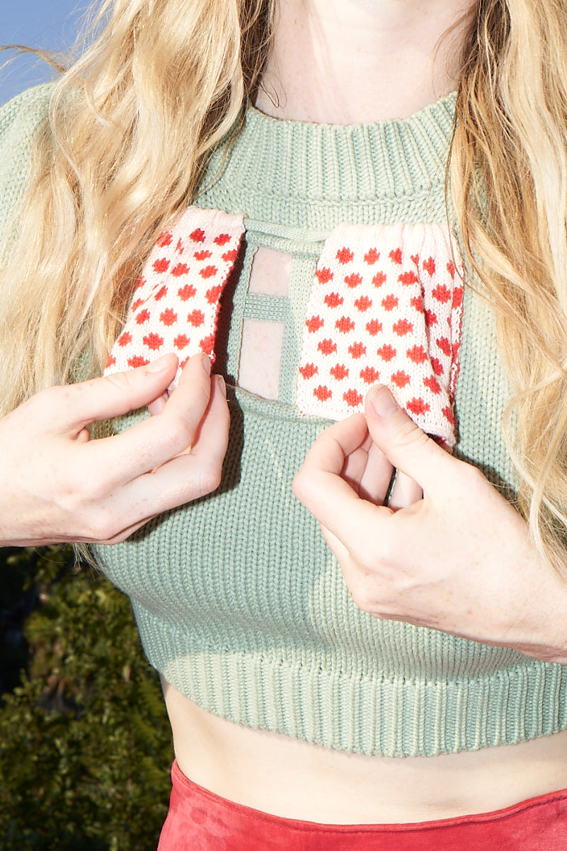 1 left- 3XL Bae Window Sweater Green/Polka Dot
