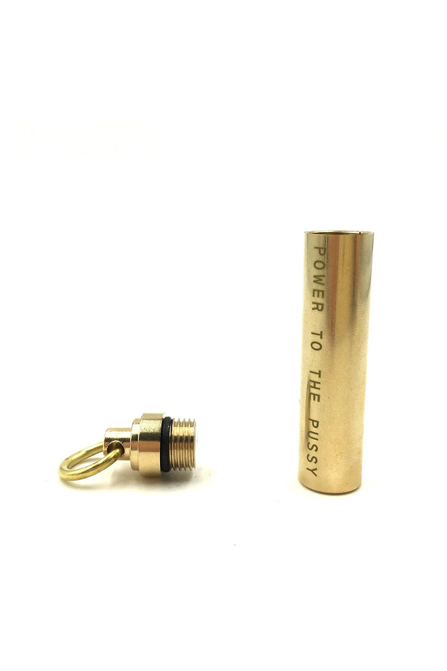 Power to the Pussy Brass Pill Holder Keychain