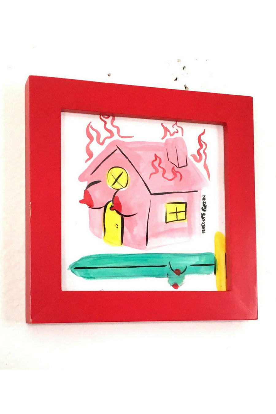 Tits House Fire Original Framed Painting
