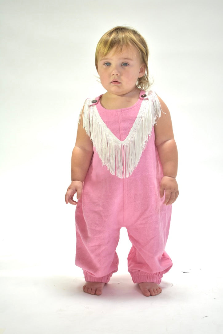 Toddler pink linen jumpsuit