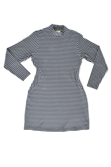 Long Sleeve Blue striped Illusion Dress