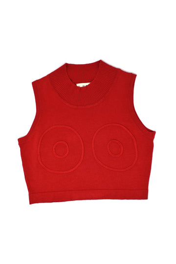 Boob Knit Mock Tank Red