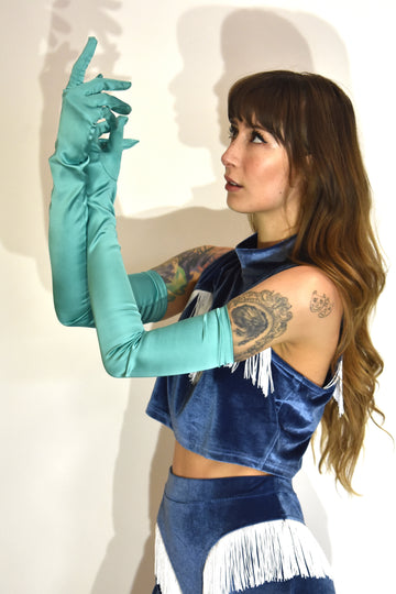 half off Teal Satin Gloves