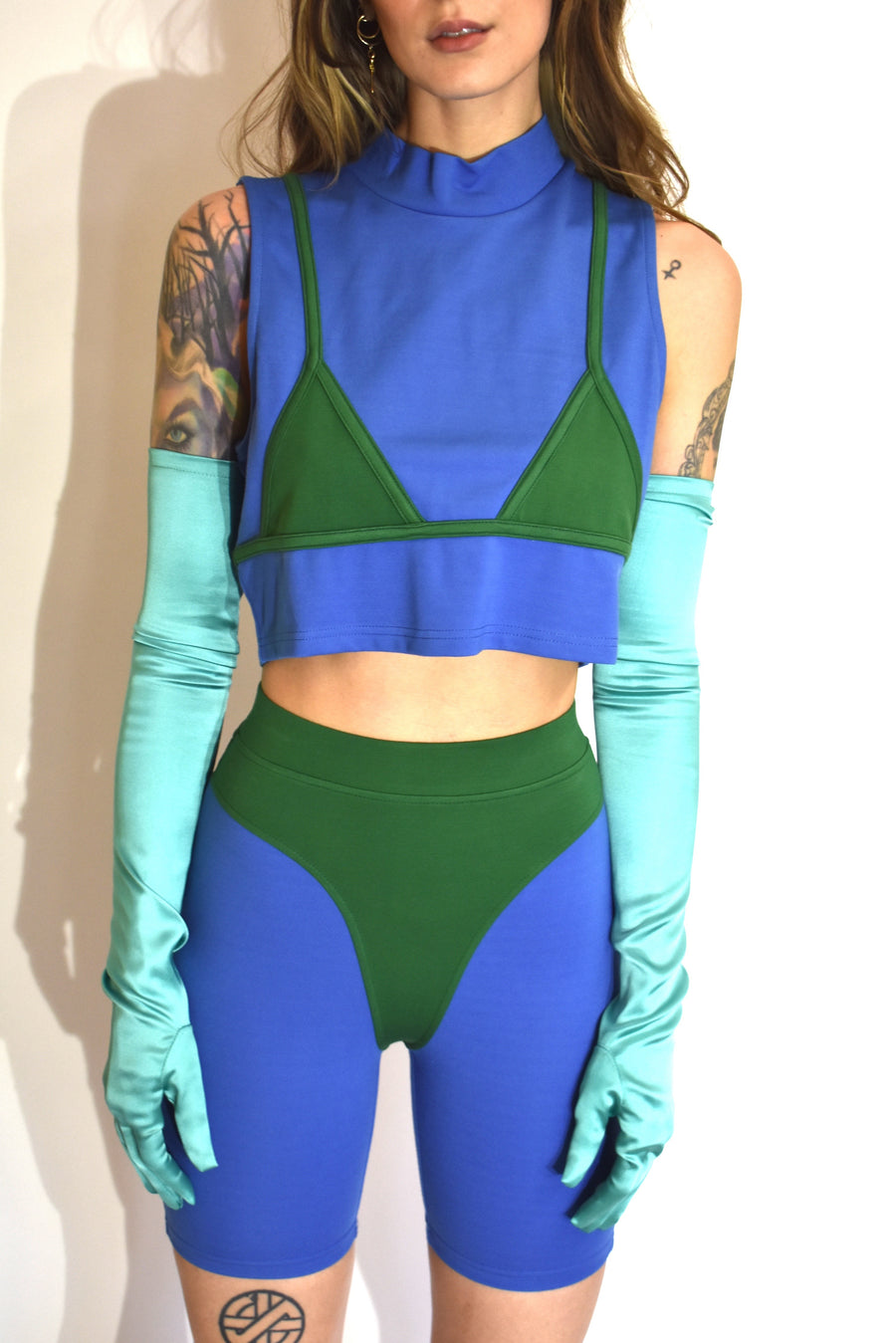 Bikini Crop Top Blue/Green
