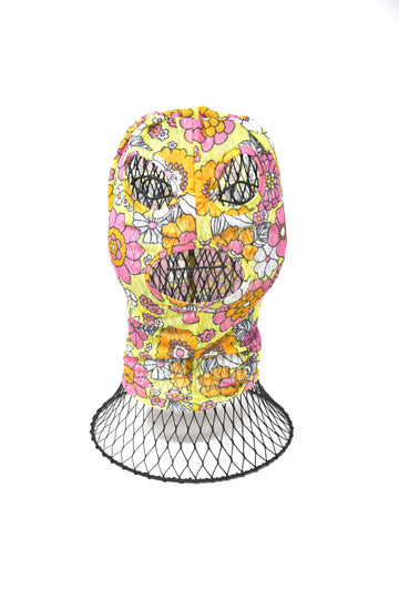 Floral Printed Mesh Face Mask Hood