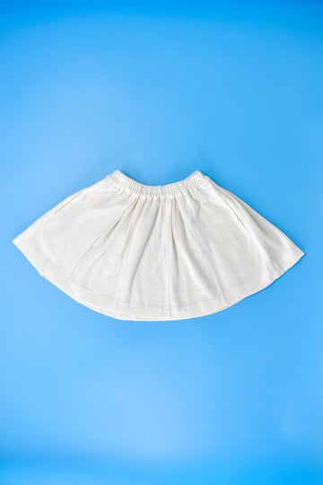 White Linen Cheer Skirt