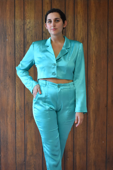 Teal Satin Blazer