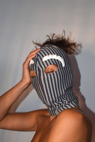 Striped Face Mask Hood