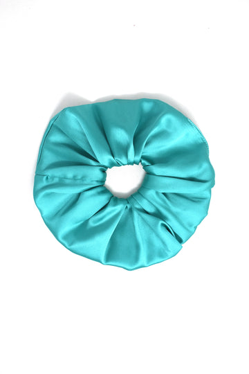 Jumbo Teal Satin Scrunchie