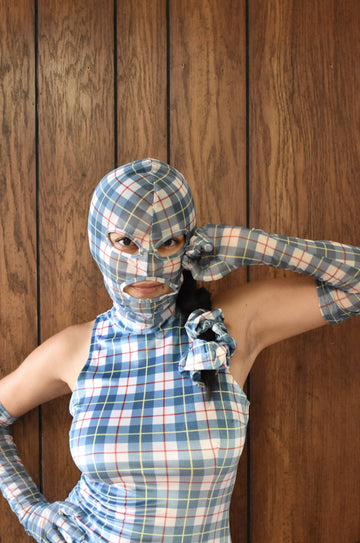 Plaid Printed Mesh Face Mask Hood