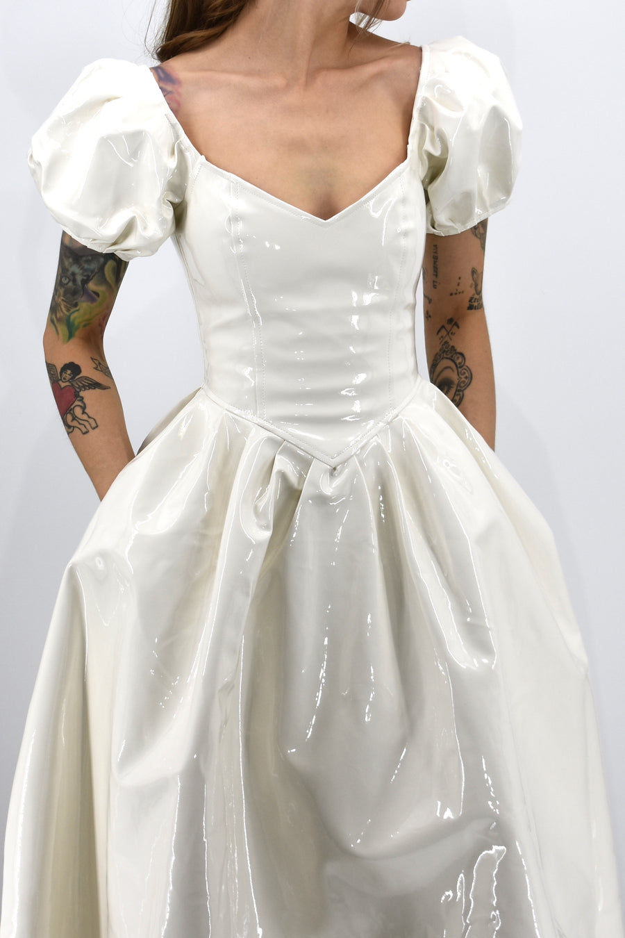 White Vinyl Wedding Virgin Gown
