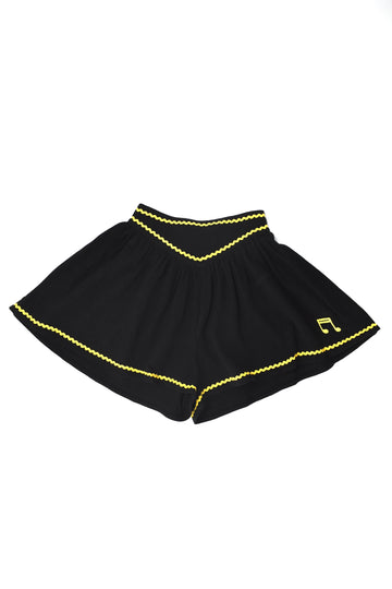 Black Linen Music Note Shorts