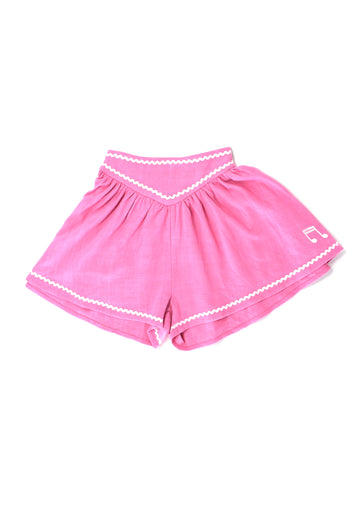 Pink Linen Music Note Shorts