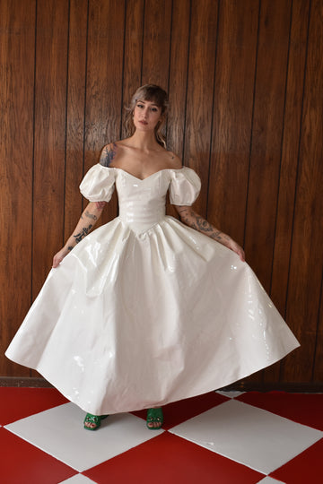 1 left- XS White Vinyl Wedding Virgin Gown