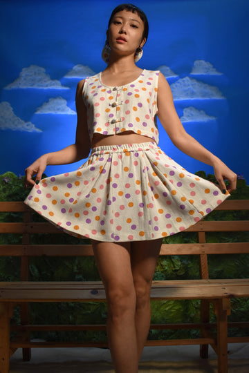 Cher Dot Cheer Linen Skirt
