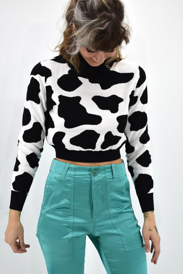 Cow Print Cotton Sweater