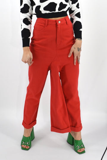 6 left- 3 Legged Red Denim Pants