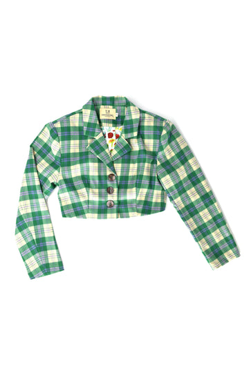 FINAL SALE- Green Plaid Crop Blazer