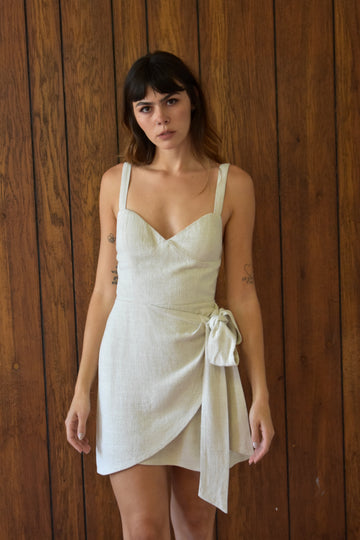 2 left - Beached Ariel Linen Wrap Dress