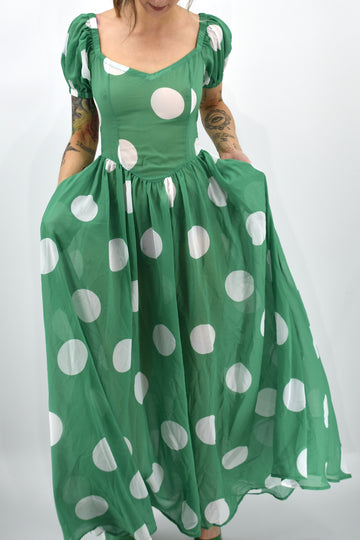 SAMPLE Sheer Green Polka Dot Virgin Dress