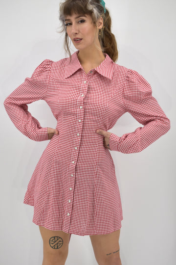 SAMPLE Gingham FLDS Mini Dress S
